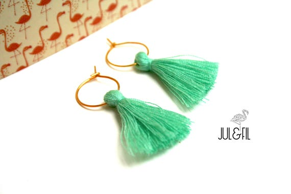 Earrings 18 k gold plated earrings, tassels mint