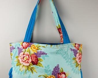 Reversible Tote Bag - Floral Blue