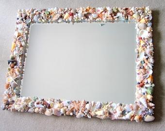 Nautical Decor Seashell Mirror, Beach Decor Shell Mirror, Shell Wall Mirror, Beach House Decor, Coastal Home Decor, Nautical Mirror #CM3426C
