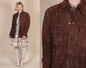 70s Brown Suede Jacket - Medium to Large // Vintage Boho Snap Button Up Leather Coat