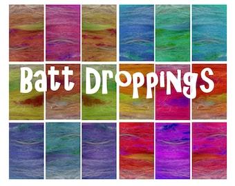 BATT DROPPINGS - spinning Batt  - 50g - 1.7oz - Random Fibre Batts  - spinning - felting