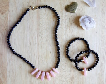 Millennial Pink Jewelry Set, Necklace and Bracelets, Quartzite, Gold, Black, Unique Gift for Woman,