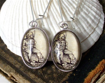 Antique Deep Sea Diver Earrings in Silver - Diving Dangle Earrings