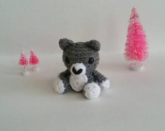 Mini Crochet Wolf, Stuffed Animal Wolf, Mini Plush Wolf, Kid's Birthday Gift, Arctic Animal Toy, Gifts under 30, Wolf Amigurumi, Arctic Wolf