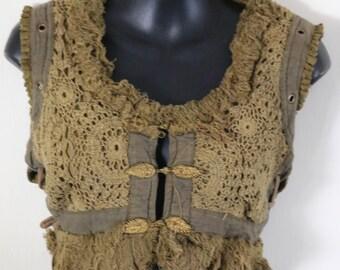 Crochet Vests - Olive Green