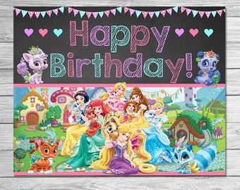Princess Palace Pets Birthday Sign Chalkboard - Palace Pets Birthday Sign - Palace Pets Printables - Palace Pets Happy Birthday Sign