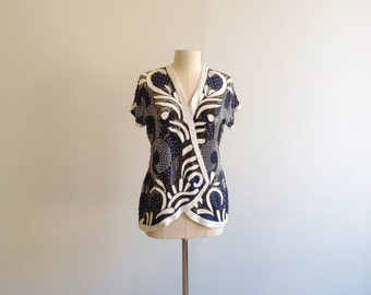 Vintage Navy Silk Beaded Blouse.