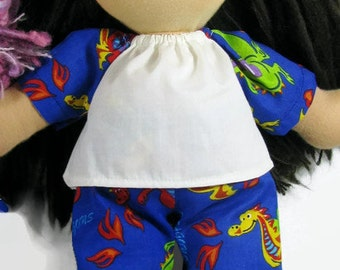 SALE 14 to 15 inch Waldorf dragon pajamas, doll clothes, handmade doll sleepwear
