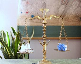 vintage brass balance scales with cherub . vintage brass home decor