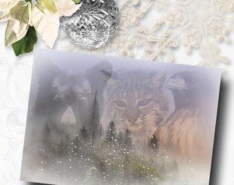 Season's Greetings, WIldlife, Bobcat, Hawk, Bear, Holiday Card, Native American Inspired Southwestern Christmas Card