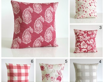Shabby Chic pillow cover, Cotton pillow cover, throw pillow, 10x10 pillow, cushion cover, cottage chic - Shabby Chic Raspberry Collection