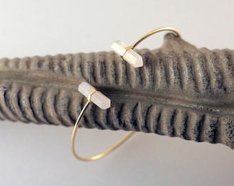 Rose Quartz Gold Bracelet | Natural Stone Bracelet | Gold Cuff bracelet | Fiance Gift | Friendship Bracelet | Simple Bracelet | Gift for Her