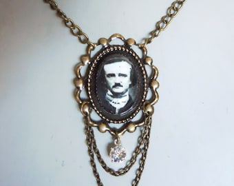 Edgar Allan Poe Necklace in an Ornate antique brass frame Setting with crystals Gothic Tea Party Jewelry