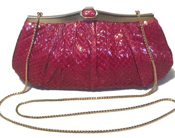 Judith Leiber Vintage Maroon Rose Snakeskin Clutch