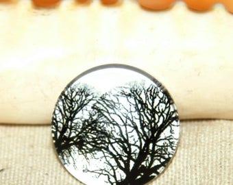 Round cabochon 1 X pattern: tree 20 mm