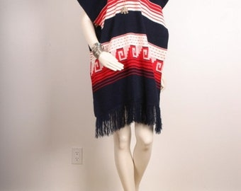 SALE Vintage poncho cape fringe tassle blue white red women size OSFA one size fits all