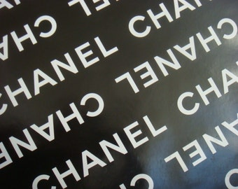 "100% Authentic Chanel Black and White CHANEL Logo Gift Wrapping Paper 36"" x 18"""