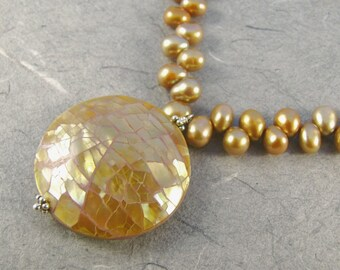 Brownlip Mosaic Shell and Champagne Pearl Necklace