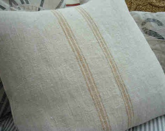 """Vintage Grainsack 20"""" Pillow Down & Feather  Caramel Stripes Cottage Ticking Shabby Chic"""