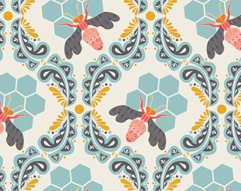 Bumble Bee Fabric | Hive |Bee Sweet Morning | Honey Bee Fabric | Art Gallery | Honeycomb Print | Farm | Bumble | Gold | Teal | Lt Blue | Red