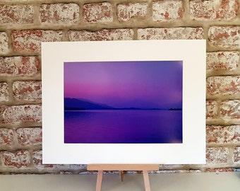 Loch Lomond at Dusk, Hazy Loch Lomond, hazy Summer Nights, wall decor, abstract print A5 A4 A3 size print