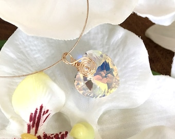 Dainty Gold Plated Wire Wrapped Swarovski Crystal Heart Pendant Necklace, Crystal Pendant, Gift for Her, Wire Wrapped Jewelry, Birthday Gift