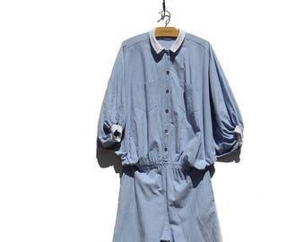 Vintage Blue Denim Oversized Jumpsuit