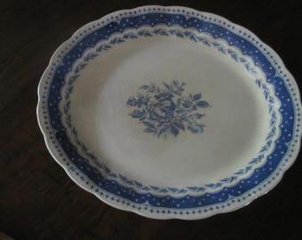 Vintage Platter Avon Grindley England Large Oval Blue White