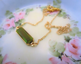 Green gemstone necklace. Iridescent dark green charm. Slim gold necklace, great for layering. Bridesmaid gift. Bridesmaid necklace.