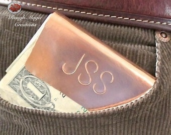 Personalized Copper Money Clip, Monogrammed Initials, Daddys Money, His & Hers Gift for Men for Women, 7th Anniversary Present Wife Husband
