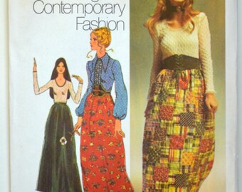 Uncut 1970s Simplicity Vintage Sewing Pattern 9616, Size 12; Misses' Evening Skirt, Blouse, and Top