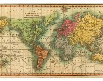 Map of the world etsy world map map of the world vintage map 1811 world political map gumiabroncs Choice Image