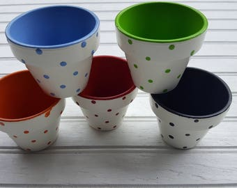 Painted Flower Pots - Baby Shower Favors - Small Painted Pots - Polka Dots - Polka Dot Planters