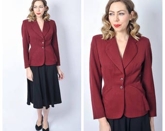 Vintage 1940's Burgundy Wool Gabardine Fitted Blazer Jacket Size X-small/ Small
