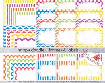Happy Doodle Frames & Labels 02: Clip Art Pack Card Making Digital Frames Page Borders Chevron Dots Stripes