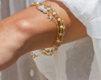 14k gold fill dainty starfish bracelet with aquamarine, starfish charm bracelet, beach inspired jewelry - HINA
