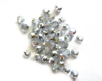 50 Half Silver 4x3mm Crystal Rondelle Beads