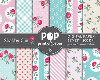 Floral digital paper SHABBY CHIC digital paper, roses digital paper, romantic floral collection, sweet digital paper, english roses garden