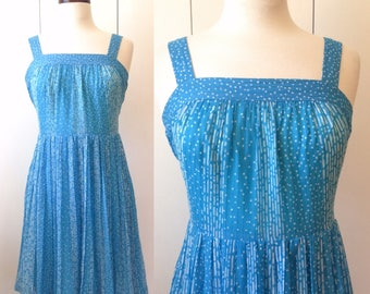 70s sun dress, turquoise chiffon, Xs Japanese vintage