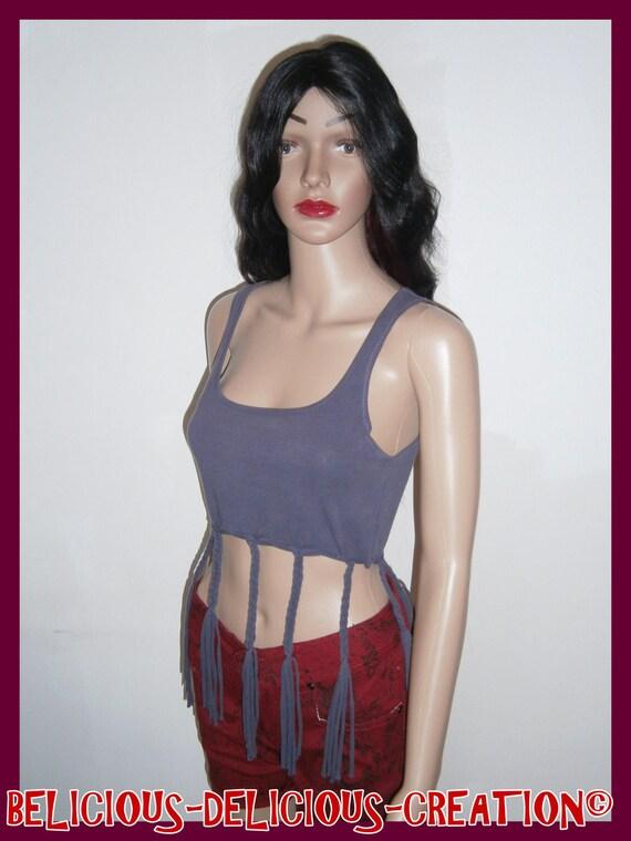 Original Top woman braid! TRACEY! COTTON, size: medium plum 62cm long