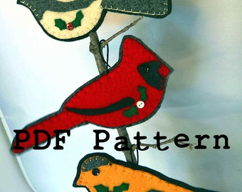 Instant Download PDF Pattern Felt Wild Bird Decor Christmas Ornaments Hand Sewing and Fusing 1202