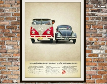 Volkswagen Bus VW Beetle -  Rendition of Advertisement - Vintage Advertising - Vintage Volkswagen - Print Drawing Art Item 0124