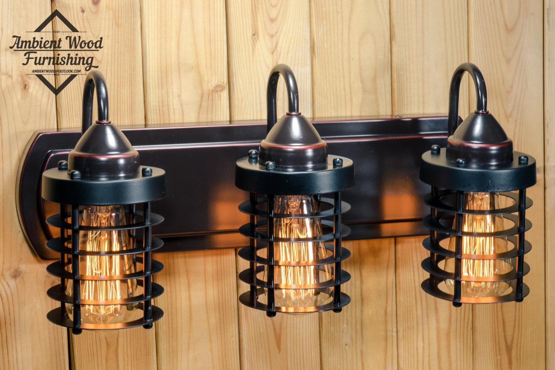 Industrial bathroom vanity cage light fixture bar light aloadofball Image collections