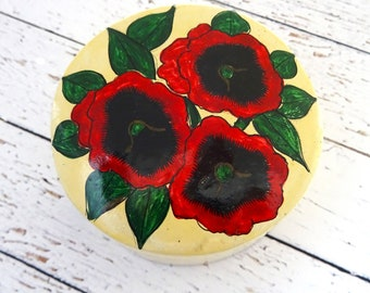 Vintage Paper Mache Trinket Box, Hand Painted Keepsake Box, Poppies, Kashmir, Collectible, Knick Knack