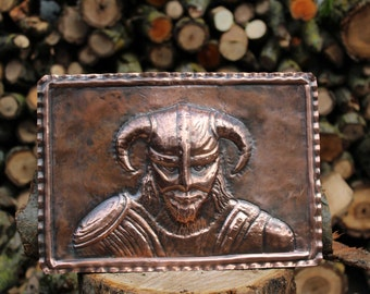 Handmade Copper Panel: Viking, Warrior, Fantasy
