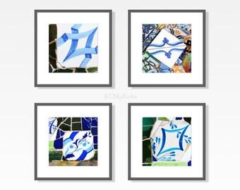 Blue prints set, Bathroom decor, Tiles Wall Art, Gaudí, bathroom wall art