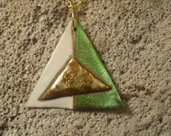 Green, white, and gold triangular art plastic pendant