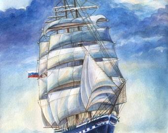 "Ship Clipper ""Maria Nikolaevna""  Watercolour Ship Original watercolor Paintings of clipper ships"
