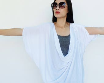 NO.60 White Cotton-Blend Jersey Origami Top, Asymmetrical T-Shirt