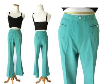 70s Flare Pants High Waist Pant Women's Green 1970s Work Trousers Hippie Bell Bottoms Size Medium M 6